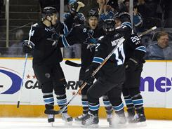 The Sharks had plenty to celebrate Monday night. Their six-goal effort moved San Jose into second in the West, while the Kings still have to wait to clinch their playoff spot.