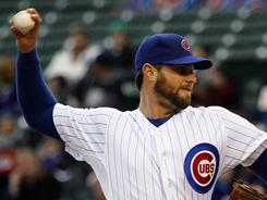 Cubs starter Randy Wells won his first start of the season.