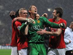 Manchester United mob goalkeeper Edwin Van der Sar after he saved Chelsea's Nicolas Anelka penalty attempt to win during the UEFA Champions League in 2008.