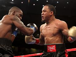 James Kirkland, right, knocked out Ahsandi Gibbs in the first round of their super middleweight bout last month in Los Angeles.