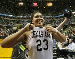 Texas A&M forward Danielle Adams turned in 30 points with nine rebounds as the Aggies claimed the national title with a 76-70 victory against Notre Dame.