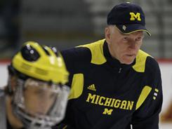 Red Berenson, right, has led Michigan to 11 Frozen Four appearances in 27 seasons. The Wolverines have the most NCAA hockey titles with nine.