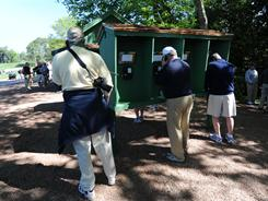 The Masters doesn't allow cellphones on the grounds, but it does provide free phone service for spectators.