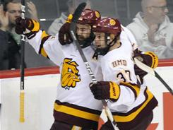 Jack Connolly, left, and Justin Fontaine (37) are Minnesota-Duluth's top two scorers with 58 and 55 points, respectively.