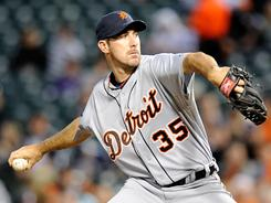Tigers starter Justin Verlander went eight innings Wednesday against the Orioles, striking out nine in a  7-3 triumph.