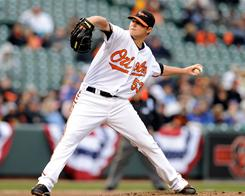 Orioles rookie pitcher Zach Britton allowed only two runners past first base in his second big league start, a 5-0 win over the Rangers in Baltimore.