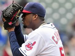 Indians pitcher Fausto Carmona pitched seven shutout innings to earn a no decision.