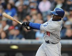 Los Angeles Dodgers outfielder Tony Gwynn Jr. drives home the go-ahead run during the 11th inning against the San Diego Padres at Petco Park.