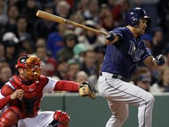 Former Red Sox and current Rays outfielder Johnny Damon stroked a two-run single that proved to be the difference in Tampa Bay's 3-2 win over Boston on Tuesday.