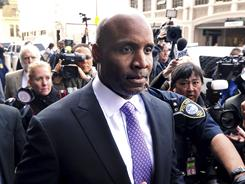 Barry Bonds leaves federal court April 13 after being found guilty of one count of obstruction of justice. The jury failed to reach a verdict on three other counts that the home run king lied to a grand jury.