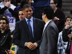 Sacramento mayor Kevin Johnson, left, a former NBA point guard, is trying to keep the Kings in the California capital. The NBA team could relocate to Anahiem.