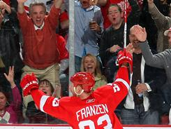 Detroit's Johan Franzen celebrates his go-ahead goal in the second period. It was his third in the past 28 games.
