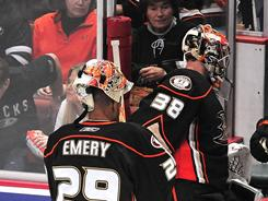 Anaheim's Ray Emery replaced Dan Ellis in the third period of Game 1 Wednesday night.