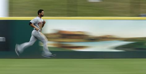 Mets center fielder Angel Pagan, running sprints before a game, has been successful on 41 of his last 49 steal attempts.