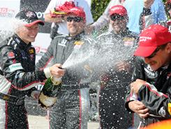 Mike Conway celebrates after winning the IndyCar Series' Grand Prix of Long Beach on Sunday.