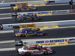 From top to bottom, Greg Stanfield, Dave Connolly, Vincent Nobile and Greg Anderson compete in the final round of the Pro Stock event. Anderson emerged as the victor.