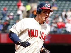 Grady Sizemore hits a home run in his first game back with the Indians.