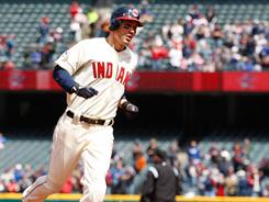 Grady Sizemore trots around third base after hitting a solo home run against the Orioles.