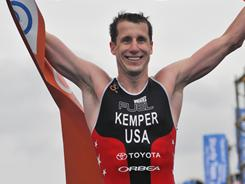 Hunter Kemper after winning the Ishigaki ITU Triathlon World Cup. The three-time Olympian and member of the USA triathlon national team finished with a time of 1 hour, 50 minutes, 32 seconds. This was his first win on the World Cup circuit since 2005.
