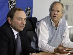 NHL commissioner Gary Bettman, left, and NBC Sports Group Chairman Dick Ebersol address the new deal that will keep the NHL on NBC and Versus for the next 10 years at a news conference Tuesday.