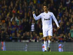 Cristiano Ronaldo of Real Madrid celebrates after scoring the lone goal during the Copa del Rey final match Wednesday.