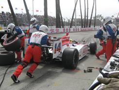 Vitor Meria had a couple of close calls in the pit stall during Sunday's Toyota Grand Prix of Long Beach.
