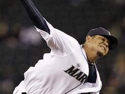 Felix Hernandez didn't allow a run and struck out eight over seven-plus innings in the Mariners' 1-0 win over the A's on Thursday night.