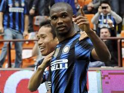 Samuel Eto'o scored in the 52nd minute to help Inter Milan beat Lazio and move into second place in Serie A.