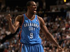 Serge Ibaka scored a career-high 22 points and added 16 rebounds in the Thunder's 97-94 road win over the Nuggets in Game 3. Oklahoma City now leads the series 3-0.