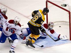 Nathan Horton's (18) goal in the second overtime propeled the Bruins to a 2-1 victory in Game 5 over the Canadiens on Saturday. The Bruins lead the Eastern Conference series 3-2.