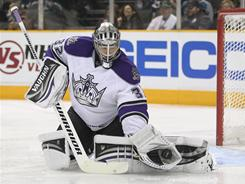 Goalie Jonathan Quick made 51 saves in the Kings' 3-1 Game 5 victory over the Sharks on Saturday. San Jose still leads the series 3-2.