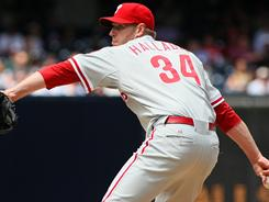 Phillies pitcher Roy Halladay struck out 14 batters during Sunday's game. It's the 12th time in Halladay's career he has recorded 10 or more strikeouts in a game.