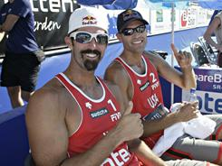 Todd Rogers, left, and Phil Dalhausser react after winning the Otera Open men's final  last August in Kristiansand, Norway.