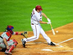 Starting pitcher Daniel Hudson helped his own cause by hitting a two-run double in the Diamondbacks' 7-5 win over the Phillies. Hudson went six innings and beat Roy Oswalt.