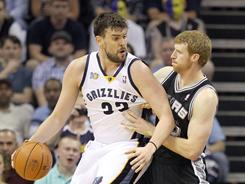 Marc Gasol of the Memphis Grizzles dribbles while defended by Matt Bonner #15 of the San Antonio Spurs during their Western Conference first-round playoff series.