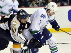 """Predators forward Martin Erat, left, says of facing the Canucks: """"We can play with anyone in the league."""""""