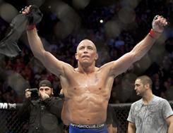 Welterweight champion Georges St. Pierre celebrates a Dec. 12 victory over Josh Koscheck at UFC 124 in Montreal.