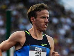 In this file photo from 2008, Alan Webb competes in the men's 1,500-meter semifinals at the U.S. Olympic Team Trials in Eugene, Ore.