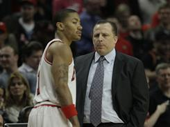 Tom Thibodeau, right, clicked in his first season as Chicago Bulls head coach with presumptive MVP winner Derrick Rose.