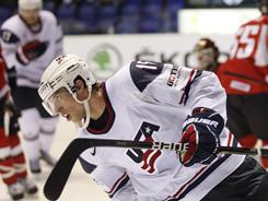 College players Craig Smith (pictured) and Chris Kreider scored two of the USA's goals in an opening 5-1 win against Austria at the world championships.
