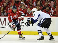 Tampa Bay's Eric Brewer, right, has been one of the NHL's better late-season pickups.