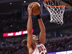 Joakim Noah (13) had a double-double with 19 points and 14 rebounds in the Bulls' 86-73 Game 2 win over the Hawks on Wednesday. The series is now tied 1-1.