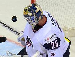 USA goalie Ty Conklin made 48 saves in a 4-3 shootout loss to Canada Friday.