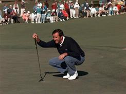 Seve Ballesteros of Spain lines up a shot on the second green at Augusta National during first round action in 1996. The swashbuckling star was a two-time Masters champion and a legend of golf.
