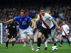 Everton's Phil Jagielka, left, vies with Manchester City's Edin Dzek during an English Premier League match on Saturday in Liverpool.