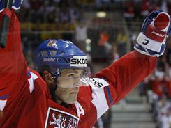 The Czech Republic's Jaromir Jagr, 39, celebrates one of his three goals in a world championships quarterfinal win against the USA.