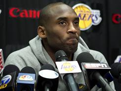 Los Angeles Lakers superstar Kobe Bryant, facing the sports media Wednesday after his team was swept from the playoffs Sunday by the Dallas Mavericks.