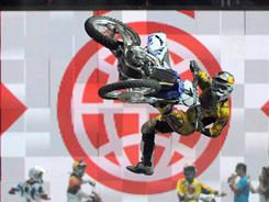 James Stewart competes in the Moto X Best Whip during X Games 15 at the Staples Center in July 2009 in Los Angeles.
