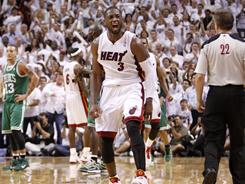 The Heat's Dwyane Wade finished with a game-high 34 points in Miami's 97-87 series-clinching win vs. the Celtics on Wednesday.