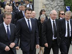 Chief Executive of The European Tour George O'Grady (from left), Nick Faldo of England , Roger Chapman of England and Colin Montgomery of Scotland attend the funeral service for legendary Spanish golfer Seve Ballesteros on Wednesday in Pedrena, Spain.